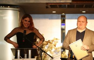 Billie Piper (Yerma) collects Best Actress from Henry Hitchings