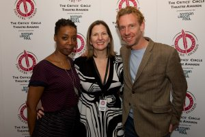 Awards organiser Terri Paddock (centre) with Harry Potter stars Noma Dumezweni & Paul Thornley