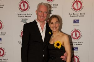 The Girls' co-writer and director Tim Firth and star Joanna Riding, who performed at the Critics' Circle Theatre Awards