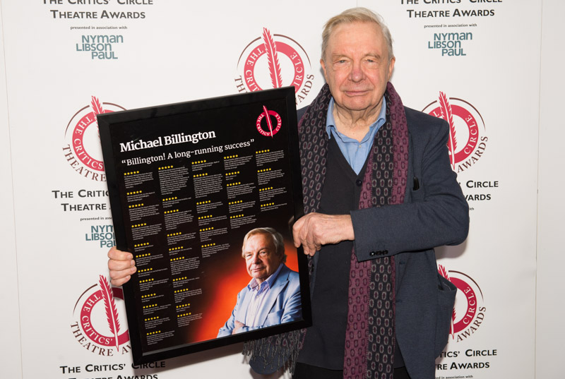 Michael Billington was presented with a special poster of critics' reviews of him at the 2019 Critics' Circle Theatre Awards