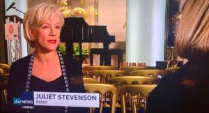 Juliet Stevenson on ITV London News at the Critics' Circle Theatre Awards
